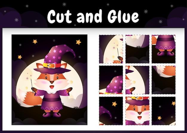Bordspel voor kinderen knippen en lijmen met een schattige vos met halloween-kostuum