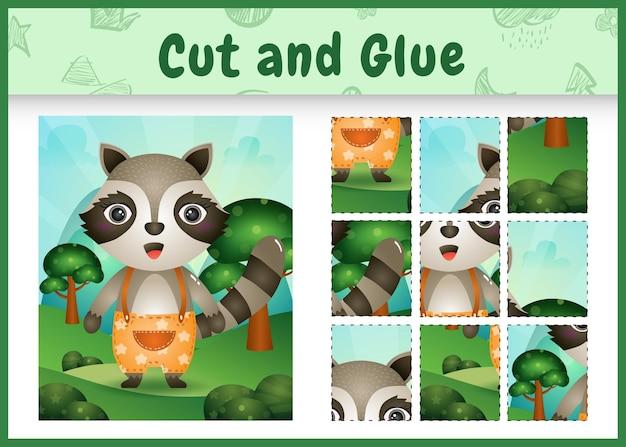 Bordspel voor kinderen knippen en lijmen met een schattige wasbeer met broek