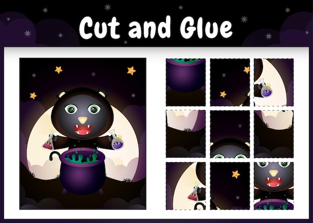 Bordspel voor kinderen knippen en lijmen met een schattige zwarte kat met halloween-kostuum
