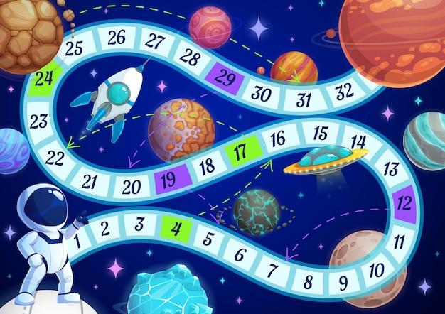 Bordspel voor kinderen met astronaut in ruimtesjabloon