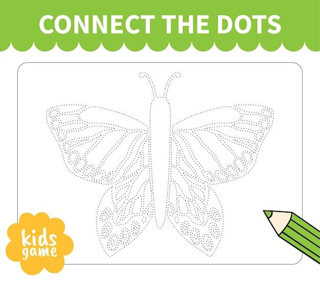 Bordspel voor kinderen verbinden met stippellijn voor werkbladen van kleuters en basisschoolleerlingen