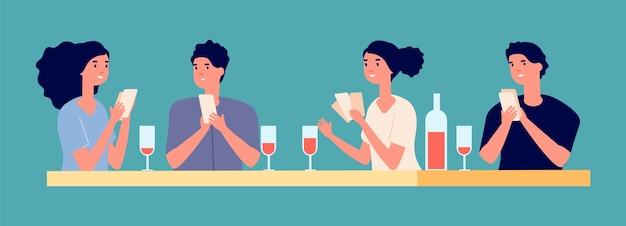 Bordspellen concept. pokertoernooi met vrienden vectorillustratie. jonge meisjes en jongens die kaarten spelen en wijn drinken. bordspelentertainment, speelkaart en vrije tijd