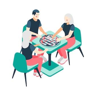 Bordspellen isometrisch met spelende stellen gezinnen