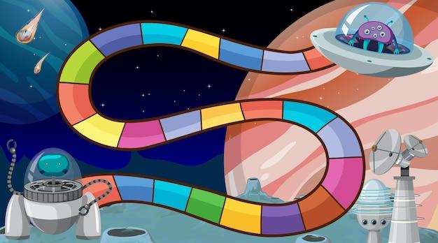 Bordspelsjabloon met ruimtethema