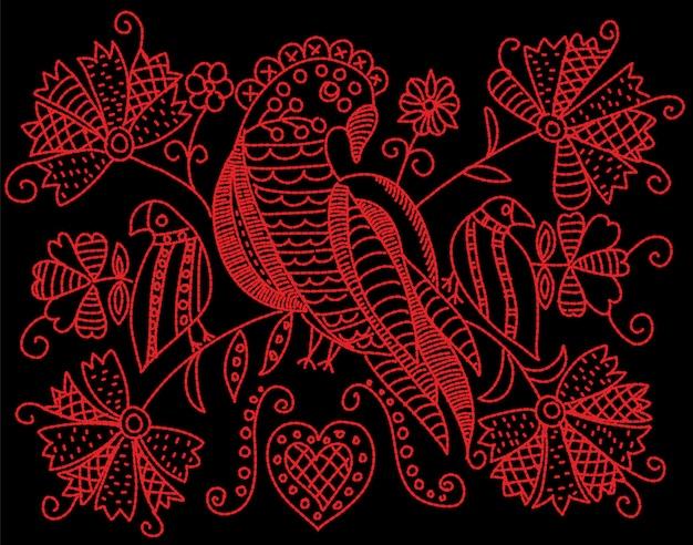 Borduurpatroon met vogels en bloemen in folk stijl.