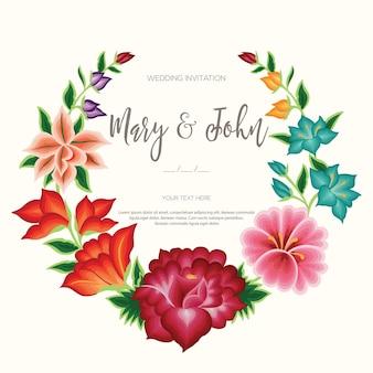 Borduurstijl uit oaxaca, mexico - bloemen bruiloft uitnodiging sjabloon