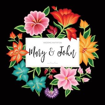 Borduurstijl uit oaxaca, mexico - bloemenhuwelijksuitnodiging