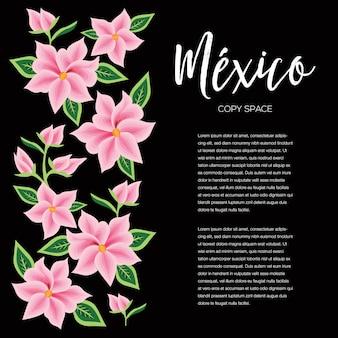 Borduurstijl uit oaxaca, mexico - floral copy space banner