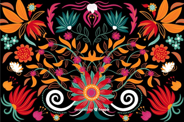 Borduurwerk floral achtergrond platte ontwerp