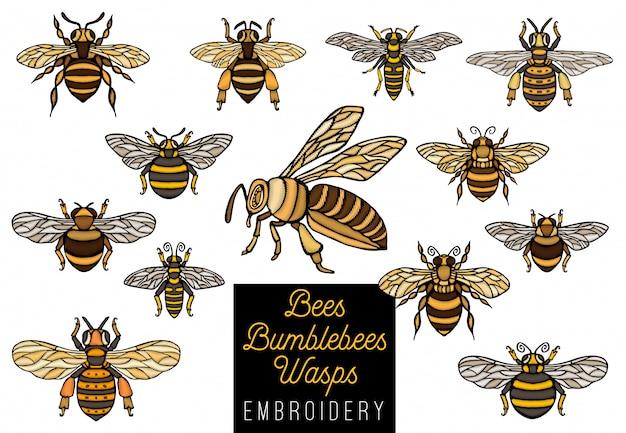 Borduurwerk honingbij hommels wespen set schets stijl collectie invoegen vleugels embleem symbolen hand getekende illustratie