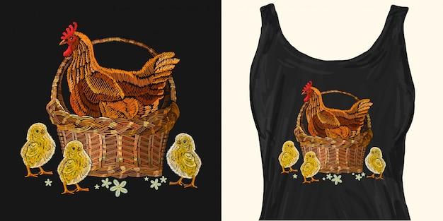 Borduurwerk kip en kippen in een mand