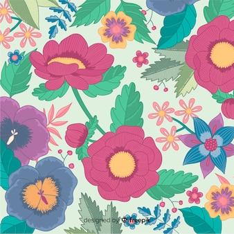Borduurwerk kleurrijke bloemen decoratieve achtergrond