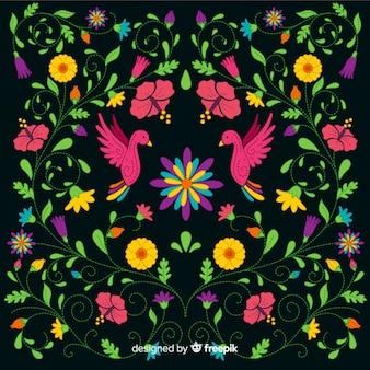 Borduurwerk kleurrijke mexicaanse bloemenachtergrond