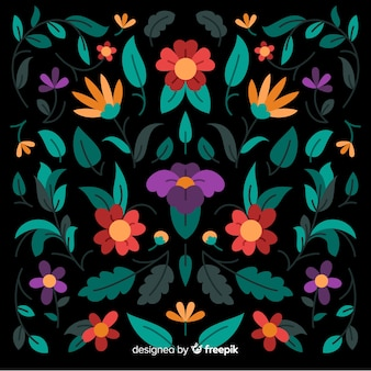 Borduurwerk mexicaanse bloemen decoratieve achtergrond