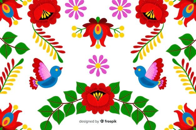 Borduurwerk mexicaanse bloemenachtergrond