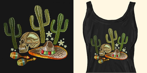 Borduurwerk mexicaanse cultuur. menselijke schedel, sombrero, maracas
