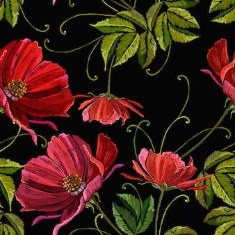 Borduurwerk rode pioenrozen naadloze patroon