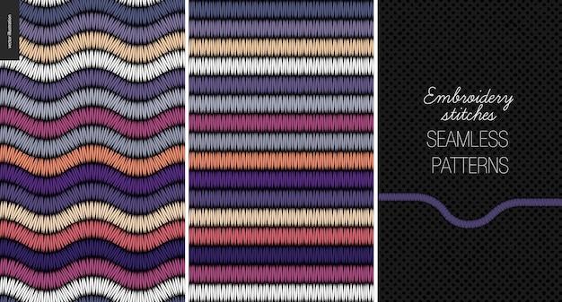 Borduurwerk satijnsteek naadloos patroon
