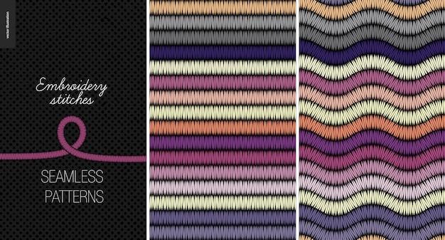 Borduurwerk satijnsteek naadloze patronen