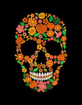Borduurwerk schedel gezicht oranje bloem textuur mexicaanse patch textielprint