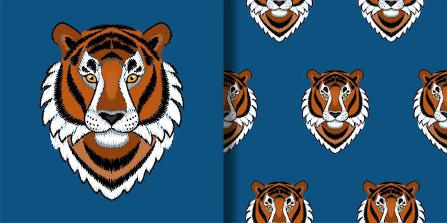 Borduurwerk tijgerkopprint en naadloos patroon met handwerk voor textiel- en t-shirtafdrukken