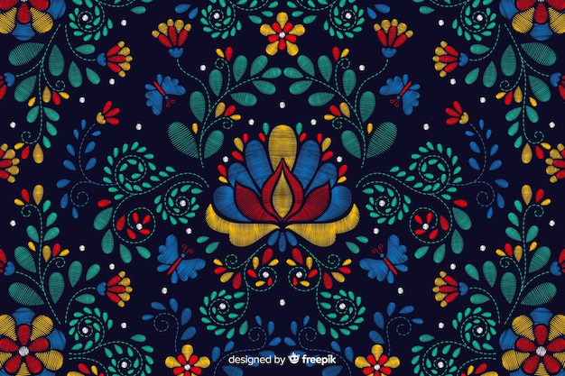 Borduurwerk traditionele mexicaanse bloemenachtergrond