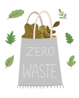 Borduurwerk zero waste ecologische tas met groene blaadjes sla, spinazie basilicum