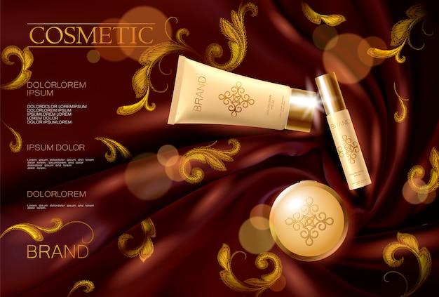 Borduurwerk zijde cosmetische advertentie gezicht vrouw make-up promotionele sjabloon