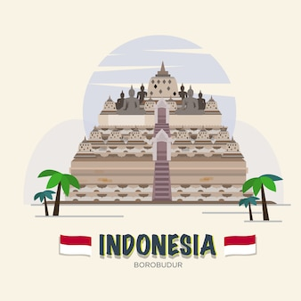 Borobudur. indonesië landmark. asean set.