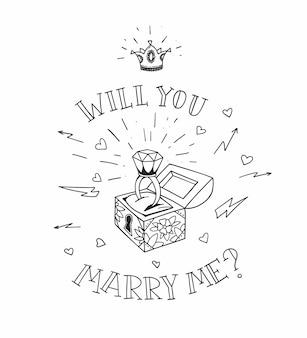 Borst van de dode man met een bruiloftschil met diamant en glanzende kroon. wil je met me trouwen in traditionele tattoo-stijl. illustratie.