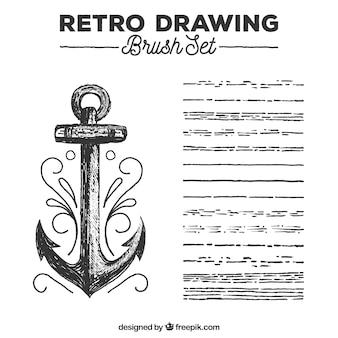 Borstel set retro tekening
