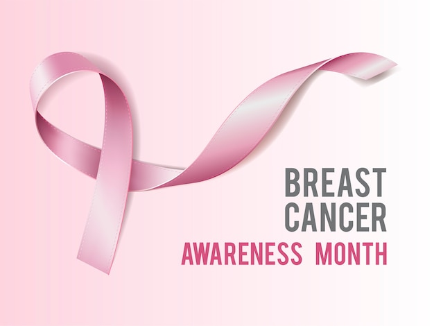 Borstkanker bewustzijn concept met tekst en realistisch roze lint. illustratie