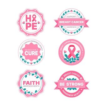 Borstkanker bewustzijn maand badges ontwerp