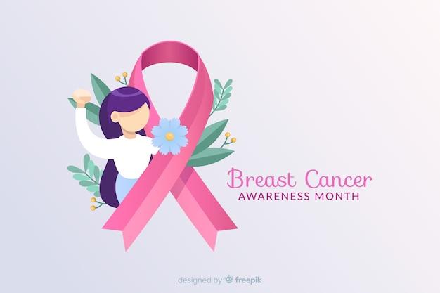 Borstkanker bewustzijn met lint en illustratie