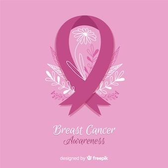Borstkanker bewustzijn met roze lint vlakke stijl