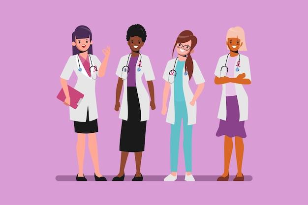 Borstkanker bewustzijn vrouw karakter met arts medische behandeling.