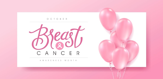 Borstkanker oktober bewustzijn maand roze ballonnen achtergrond