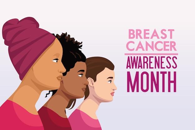 Borstkankerbewustmakingsmaand campagneposter met interraciale vrouwen