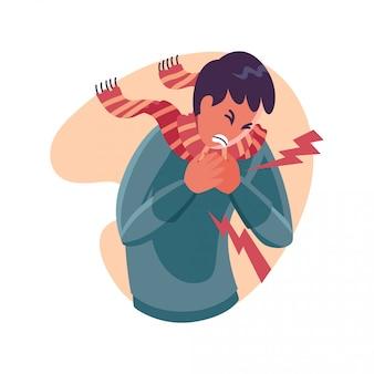 Borstpijn persoon - vlakke karakter illustratie