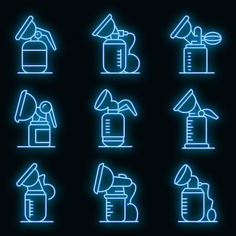 Borstpomp pictogrammen instellen. overzicht set van borstkolf vector iconen neon kleur op zwart