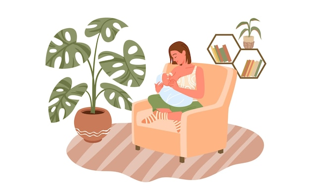 Borstvoeding bevalling en moederschap jonge moeder karakter voeding pasgeboren baby gelukkige moeder