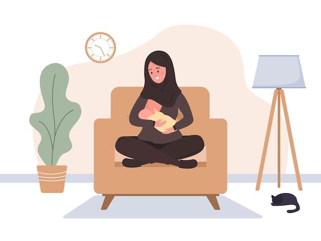 Borstvoeding concept islamitische moeder die pasgeboren baby borstvoeding geeft