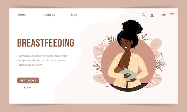 Borstvoeding concept. sjabloon voor bestemmingspagina's. jonge afrikaanse vrouw die pasgeboren baby verzorgt.