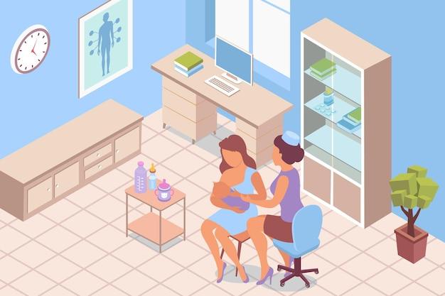 Borstvoeding overleg lactatie isometrische illustratie