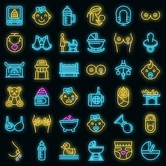 Borstvoeding pictogrammen instellen. overzicht set van borstvoeding vector iconen neon kleur op zwart