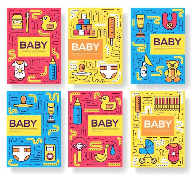 Borstvoeding week brochure kaarten dunne lijn set. child sjabloon van flyear, boekomslag, banners.
