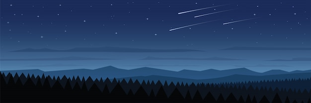 Bos bij nacht landschap scène