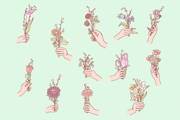Bos bloemen in de hand