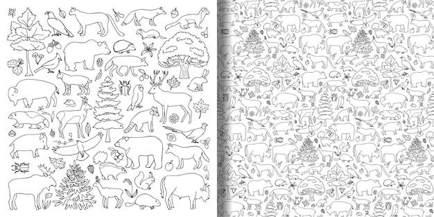 Bos dieren en planten objecten set en naadloos patroon