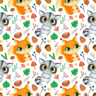 Bos dieren naadloze patroon. wasbeer en eekhoornpatroon.